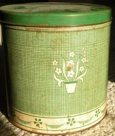 Vintage Green Kitchen Tin by AddiesAtticHeirlooms on Etsy, $10.00