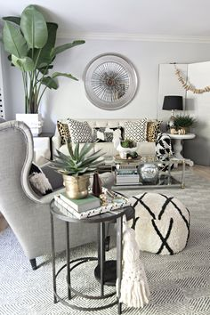 Neutral Eclectic Boho Fall Tour   Like Plant And Side Table