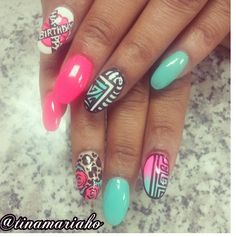 Birthday nail art  I'd want 21 on the top pointer finger... so cute!