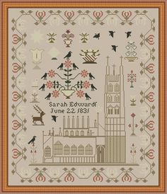 Lady In Thread ~ SARAH EDWARD'S CASTLE SAMPLER 1831 ~XS Chart~ Reproduction #TheLadyinThread