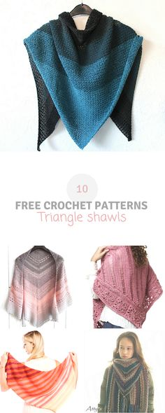 Here you can find a roundup of 10 crochet triangle shawls. They're all free #crochet #patterns! Visit wilmade.com for more inspiration.