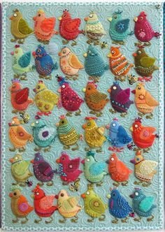 A couple of weeks ago, we here at The Stitcin' Post had the pleasure of having Sue Spargo instruct some of her special techniques and patterns. We are always so honored to have teachers from all different areas of fiber. cute little bird quilt by Sue Spar Motifs Applique Laine, Felt Applique, Fabric Art, Fabric Crafts, Bird Fabric, Vogel Quilt, Wool Quilts, Wool Applique Quilts, Aplique Quilts