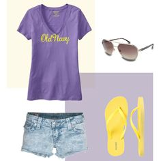 Summer - Old Navy-Now thats more like it....My Absolute Favorites...old Navy Tshirt, jen shorts and flops..