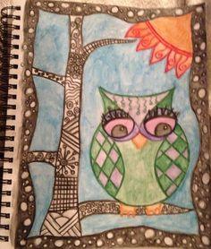 #owl #doodles #watercolorpencils