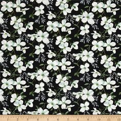 Dogwood Lane Medium Dogwood Flower Black from @fabricdotcom  Designed by Danielle Murray for Blank Quilting, this cotton print fabric features gorgeous dogwoods in full bloom! Perfect for quilting, apparel and home decor accents. Colors include black, white, sky blue, grey and shades of green.
