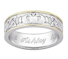 Personalized two tone Claddagh ring