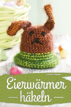 Häschen-Eierwärmer fürs Osterfrühstück - schnell gehäkelt. (Christophours Verlag)