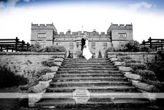 Debbie & Ian on the very grand steps at the magnificent Slaley Hall.  (Slaley Hall Wedding Photography Hexham Northumberland)