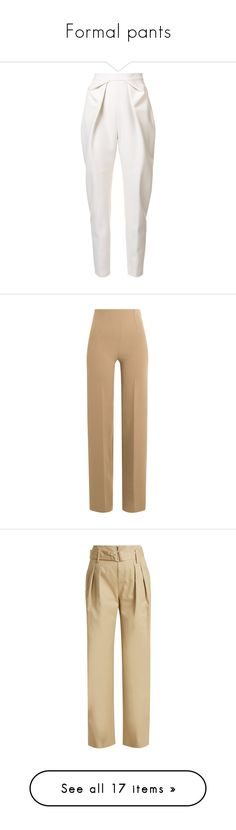 """""""Formal pants"""" by sheri-govender ❤ liked on Polyvore featuring pants, bottoms, trousers, jeans, calças, white trousers, pleated pants, pleated trousers, white pants and delpozo"""