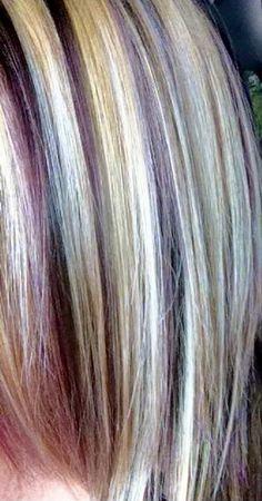 Blonde,brown and Purple hair :)