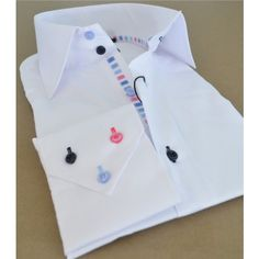 White Shirt With Coloured Buttons | Is Shirt