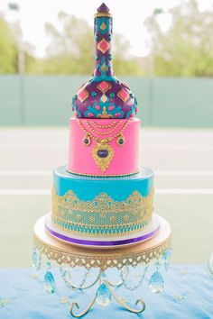 Stunning Moroccan-inspired birthday cake from a Moroccan Genie Party via Kara's Party Ideas | KarasPartyIdeas.com (18)