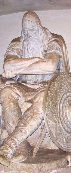 Statue of Holger Danske which sits under the Kronborg Castle (UNESCO World Heritage Site) a legendary Danish warrior that sleeps until Denmark is in danger and needs him,Helsingor,Denmark