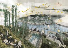Oasis of Peace graduate project at the Bartlett by Lauren Fresle Architecture Visualization, Landscape Architecture, Landscape Design, Landscape Plane, Landscape Diagram, Architecture Graphics, Collages, Bartlett School Of Architecture, London Illustration