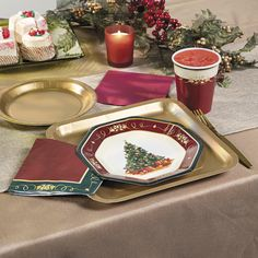 et your party table with beautiful holiday plates! Christmas Tree Dinner Plates feature a Christmas tree complete with decorations and presents over a beige background with a dark red, green and gold border.