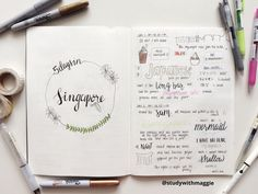 "studywithmaggie: "" 19.07.16 • Singapore - first spread :) "" inspiration for a vacation bujo page"