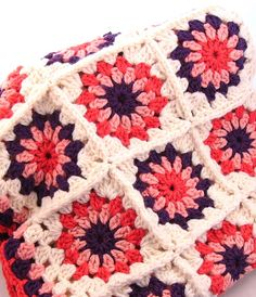 Sweet Flower Granny Square Baby Blanket by WarmAndWoolly on Etsy, $75.00