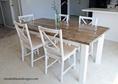 diy dinning table - We purchased five 2″ x6′ of Douglass fir for the top, 1″ x 5″ of pine for the apron and 4″ x4″s for the legs. Using a palm sander, we sanded down the boards for the top and rounded the corners. Then I used a chisel on the corners and edges to give it a worn look.
