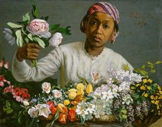 Young Woman with Peonies, 1870 ,by Jean Frederic Bazille