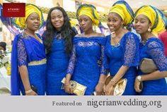 Nigerian wedding ore-iyawo aso-ebi styles blue and yellow atunbi photography