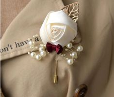 Rose Corsage, Rose Bridal Bouquet, Ribbon Bouquet, Corsage And Boutonniere, Groom Boutonniere, Bridal Flowers, Corsages, Ribbon Rose, Boutonnieres
