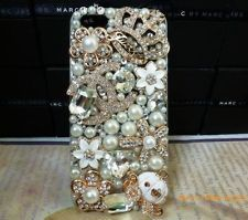 3D Luxury Bling Gold C Crown Flower Diamond Crystal Cases Cover For iPhone 5 5g