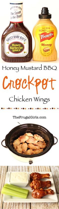 Ingredients} - The Frugal Girls Crockpot Honey Mustard BBQ Chicken Wings Recipe! Ingredients} - The Frugal Girls Bbq Wings, Bbq Chicken Wings, Chicken Wing Recipes, Recipe Chicken, Honey Barbecue Sauce, Honey Bbq, Slow Cooker Recipes, Crockpot Recipes, Cooking Recipes