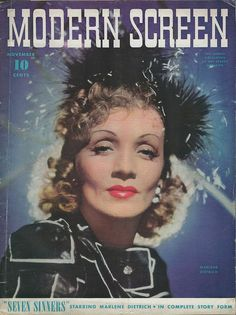 Marlene Dietrich on the cover of Modern Screen...1940