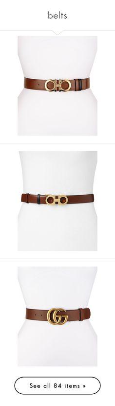 """belts"" by evenaka on Polyvore featuring accessories, belts, golden belt, salvatore ferragamo, reversible belt, salvatore ferragamo belt, buckle belt, ecorce brown, brown belt and black"