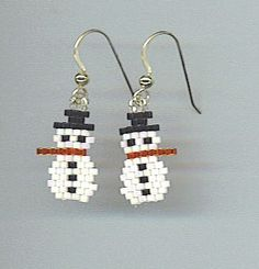 Brick Stitched Delica Bead Earrings Snowmen by earthlytreasures, $10.00