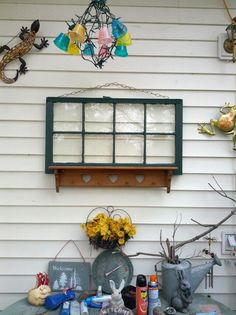 Dumpster dived window and free-cycled shelf