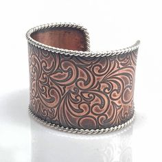 Boho copper cuff, textured copper bracelet,  silver and copper vintage style cuff, sterling silver rope edge on embossed copper. Gift by NimbleWitchCreative on Etsy