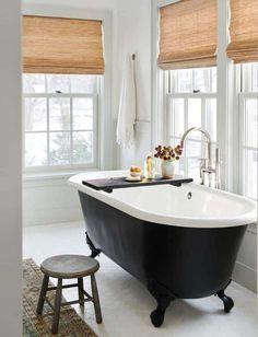 Black Clawfoot Bathtub on White Hexagon Tiles - Cottage - Bathroom Benjamin Moore, Concept Ouvert, Walnut Dining Table, Amber Interiors, Bathroom Interior Design, Clawfoot Bathtub, Bathroom Inspiration, Design Inspiration, Cheap Home Decor