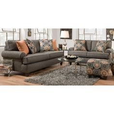 Ash Gray Upholstered Sofa & Loveseat  - Bullet Collection