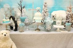 Stunning dessert table at a Winter Onederland birthday party! See more party ideas at CatchMyParty.com!