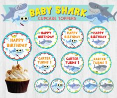 Super Simple Songs Baby Shark EDITABLE Birthday Party Cupcake Topper/ Dessert Topper/ Sticker/ Label Printable by PigsyPartyShack on Etsy