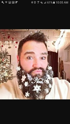 Hipsters decorate their facial hair with candy canes and mistletoe