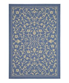 Another great find on #zulily! Blue & Natural Leah Indoor/Outdoor Rug #zulilyfinds