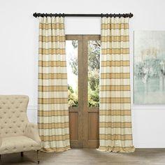 EFF Tyler Horizontal Striped Jacquard Faux Silk Curtain, Beig/Green (Beig/Khaki)