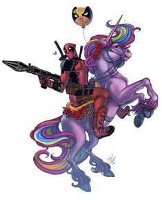 Deadpool riding a Unicorn with a Wolverine balloon. Cute Deadpool, Deadpool Unicorn, Deadpool Fan Art, Deadpool Tattoo, Deadpool Stuff, Deadpool Wallpaper, Cartoon Wallpaper, Marvel Art, Marvel Dc Comics