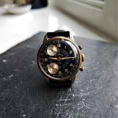 Vintage Gold Chronograph Mens Watch / Panda Dial by Cimier Sport / Mechanical Swiss Made Wrist Watch / Black Leather Hand Made Strap / Save The Pandas, Timex Watches, Gold Hands, Watch Case, Digital Watch, Chronograph, Watches For Men, 1960s, Unique Jewelry