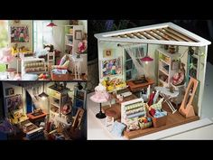 DIY Dollhouse kit Miniature Sewing Room - Lisa's Tailor - YouTube