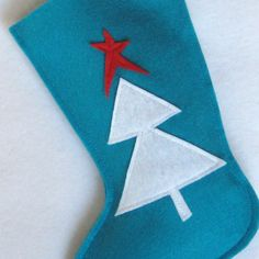 Felt Christmas Tree Stocking in Turquoise White Red by stitcholicious, $17.00