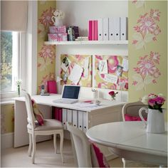 Feminine! http://www.myhomerocks.com/wp-content/uploads/2012/02/7-pink-green-white-feminine-home-office-dining-room.jpg