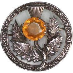 Vintage Sterling Scottish Thistle Brooch Glass Cairngorm Robert Allison  Ruby Lane shop Splendors of the Past