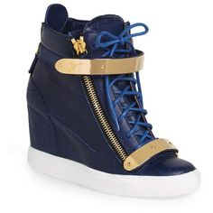 Women's Giuseppe Zanotti 'London' High Top Sneaker ($995) ❤ liked on Polyvore featuring shoes, sneakers, giuseppe zanotti trainers, crocs shoes, giuseppe zanotti sneakers, crocs sneakers and high top hidden wedge sneakers