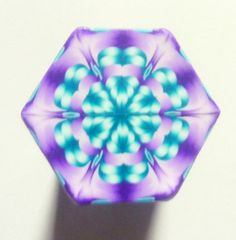 LARGE Purple Peacock and White Hexagon Polymer Clay by ClaybyKerm, $10.00