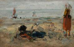 Eugène BOUDIN (1824-1898), Pêcheuses sur la plage de Berck, 1875-1878, huile sur bois, 14,6 x 23,6 cm. © MuMa Le Havre / Florian Kleinefenn