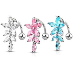 Fancy Star with Ribbon Dangling 925 Sterling Silver with Stainless Steel Belly Button Navel Rings