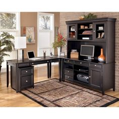 ashley carlyle l desk credenza tall hutch set the sleek design of the contemporary styled carlyle home office collection brings a rich sophistication into cadenza furniture